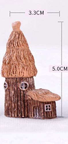 SHUANGBING Skulptur Dekoration Statue Campo Modelo Cabaña Casa De Madera Miniatura Estatuilla Simulación Paisaje Hada Decoración Jardín Estatua Casa Regalo Jardín, A.