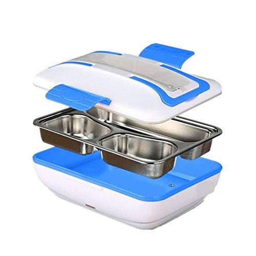 Hangang Lunchbox, scaldavivande Elettrico Lunch Box Contenitore Contenitore Portatile Food Box Food Warmer Lunchbox Bambini Bento Box 12 V 45 W con Cucchiaio forchetta Blu