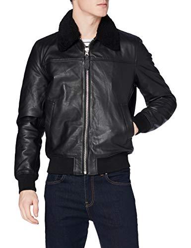 Schott NYC Lcofficier Chaqueta de cuero, negro, Large para Hombre