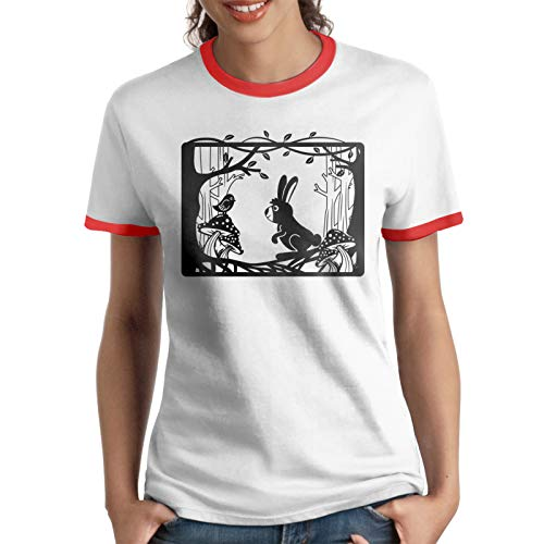 Enchanted Bunny Frame T-Shirts Womens Round Neck Short Sleeve Printing Tee, Red, XXL