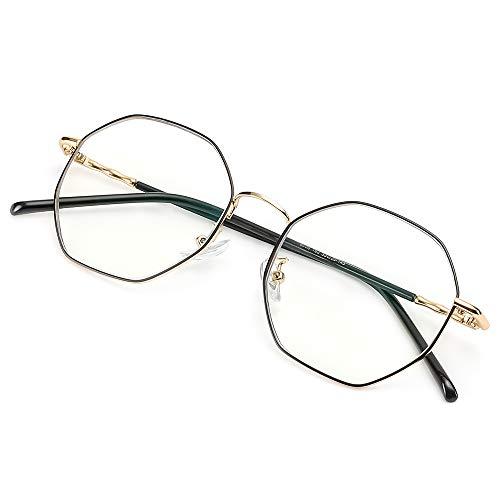 Cyxus(シクサズ)青色光カットメガネ(透明レンズ)PCメガネ 輻射防止 原宿眼鏡 ラウンド 金属フレーム フ...