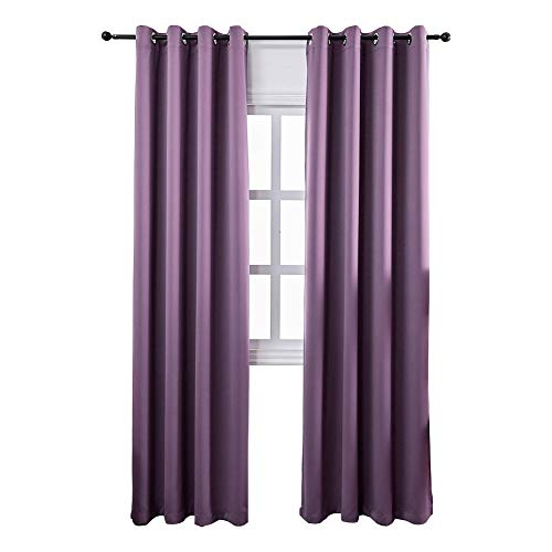 Mangata Casa Bedroom Blackout Curtains Grommets 2 Panels,Thermal Window Curtain Drapes for Living Room Darking Drapes(Purple,52x96inch)