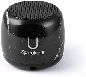 Fashionit U Micro Speaker | Coin-Sized Portable Wireless Bluetooth 4.2 with Built-In Mic & Remote Shutter | Perfect Little Speaker for Home, Parties, Activities! Tiny Device, Rich Sound | Black Marble