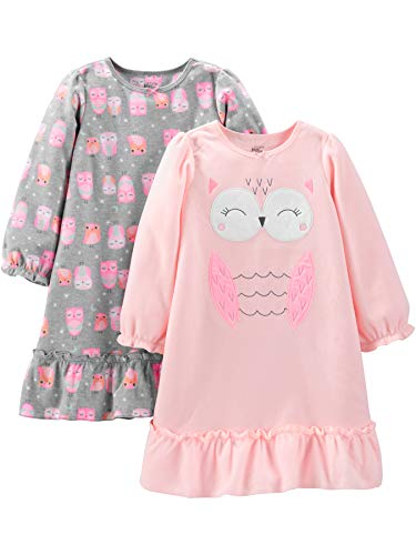 Simple Joys by Carter's Girls' Little Kid 2-Pack Fleece Nightgowns, Grey/Pink Owls, 6-7