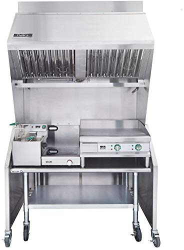 NAKS VH48-FS15-GR24-IR3000W-Table Portable Ventless 4-Foot Hood with 15-Pound Single Fryer, 24-Inch Griddle, 3000W Induction Range and Equipment Table