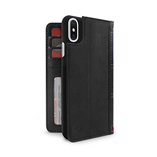 Twelve South BookBook - 3-in-1 Wallet Case Handyhülle aus Leder für iPhone XS / X, Ständer und abnehmbare Hülle, Inkl. Taschen für Personalausweis, Karten und Bargeld - Schwarz