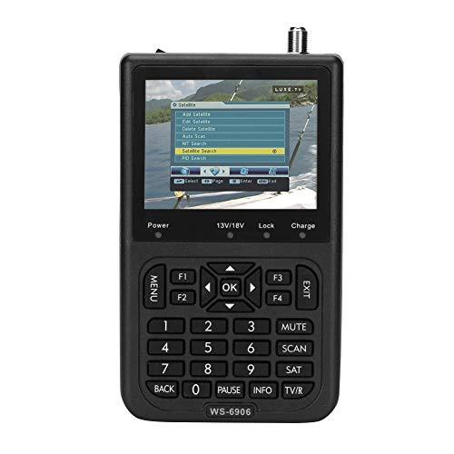 Buscador de señal satelital, Receptor del buscador de señal satelital con pantalla LCD de 3.5 pulgadas, Buscador de señal del medidor satelital WS-6906 para ajustar la antena parabólica, 950-2150 MHz