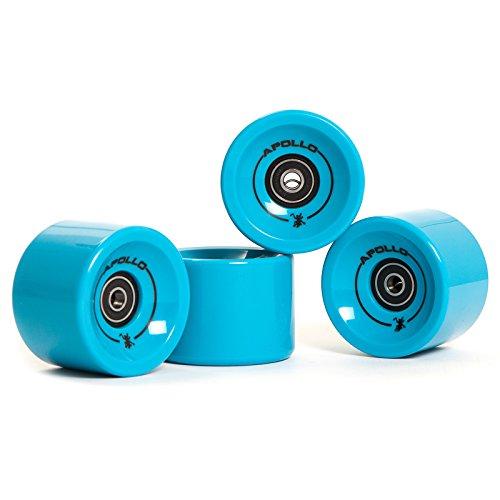 Apollo Longboard Rollen, Wheel Set inkl. Kugellager, 78A - 70mm, Farbe: Solid Blue/Blau
