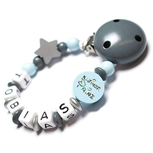 Schnullerkette mit Namen aus Holz Junge Modell Kleiner PRINZ Farbe Blau-Grau