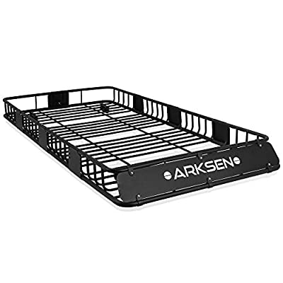 """ARKSEN 84""""x 39""""x 6"""" Universal Roof Rack Cargo Extension Car Top Luggage Holder Carrier Basket SUV Camping, Black"""