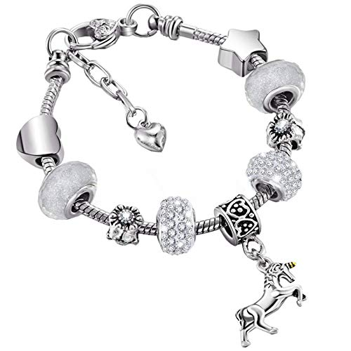Unicorn Sparkly Crystal Charm Bracelet Bangle with Gift Box Set for Girl Lady (White and Gold,20 cm/ 7.9 Inches)