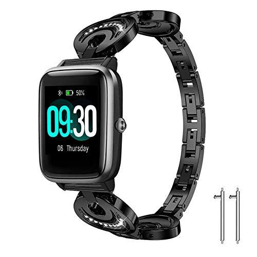 Giaogor Armband Kompatibel für ID205L, Damen Metall Band Premium Edelstahl Bracelet Gurt für ID205L/ willful SW021/ YAMAY SW021/LIFEBEE ID205L Smartwatch (Schwarz)