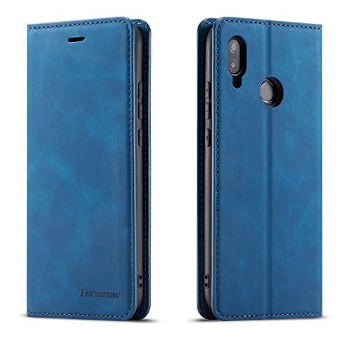 QLTYPRI Hülle für Huawei P20 Lite, Premium Dünne Ledertasche Handyhülle mit Kartenfach Ständer Flip Schutzhülle Kompatibel mit Huawei P20 Lite - Blau