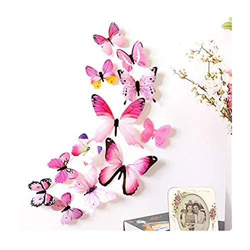 Dasongff - Set de 12 Mariposas Decorativas en 3D, Pegatinas para Pared, Preciosas Pegatinas de Colores, PS, Rosa, 12 pc