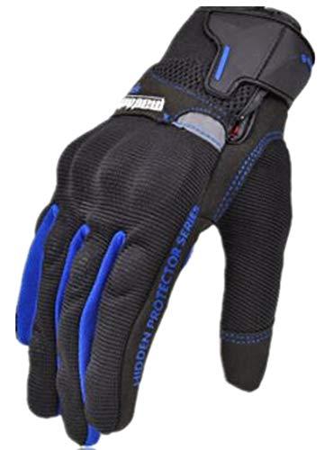 PUNK FAMILLE Hommes de la mode extérieure hors route course écran tactile respirant gants de protection, Mixte, bleu, L