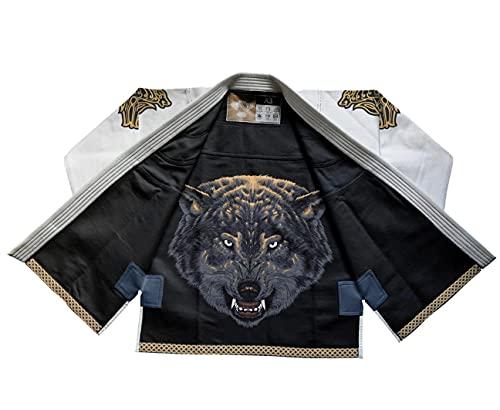 Raven Fightwear BJJ Gi Ulfhedinn White Men s Brasileños Jiu Jitsu Kimono Hombre MMA Uniform Algodón Judo Grappling Artes Marciales Karate A2