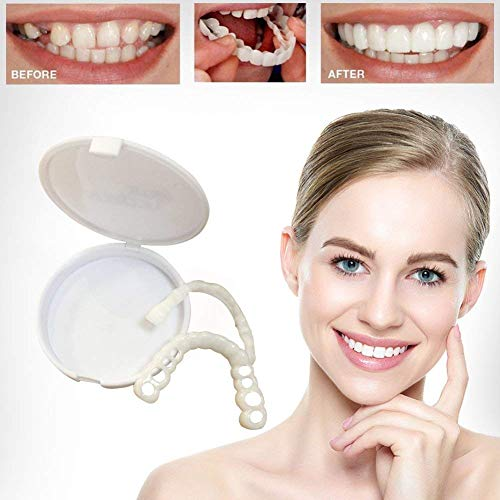 takestop Denti in Silicone Smile Bianchi per Un Sorriso Perfetto DENTIERA Copri-Denti Superiore E Inferiore Uso Quotidiano COSMETICA