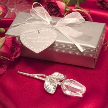 Crystal Long Stem Rose Wedding Favors (12 pieces)
