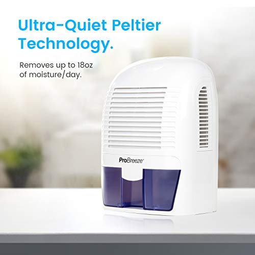 Pro Breeze Dehumidifier Small, 2200 Cubic Feet (250 sq ft) Coverage for High Humidity in Home, Kitchen, Bedroom, Basement, RV, Office and Garage, Compact and Portable with Auto Shut Off
