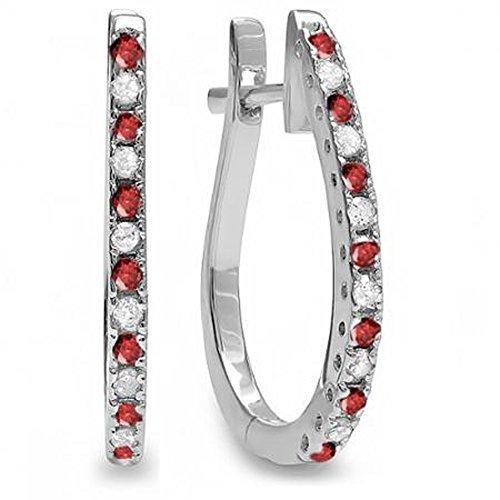 18ct Oro Blanco Redondo Ruby y blanco Diamond Ladies Pendientes de aro