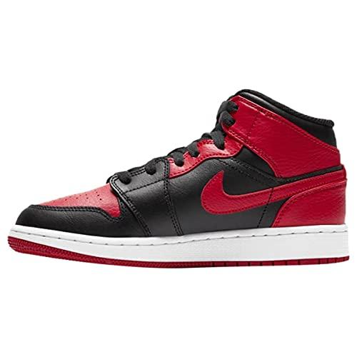 Nike AIR Jordan 1 Mid (GS), Chaussure de Basketball garçon, Black/Gym Red-White, 36.5 EU