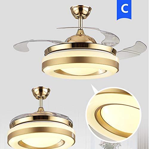 HomeARTS Remoto 36 Pulgadas Luz Pendiente LED De 5 Velocidades Control De Luz Ventilador De Techo Invisible Luz De La Iluminación Fan C