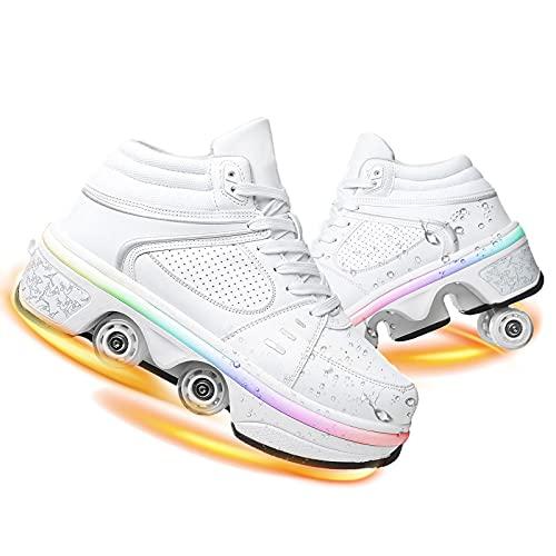 YUNWANG Doble Fila Deformación Patines De Cuatro Ruedas con Luces LED Carga USB Patines En Línea Zapatos Deportes Exteriores Niños Adultos