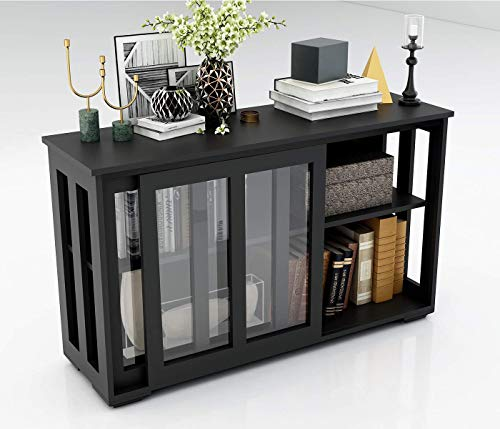 Kitchen Liquor Storage Cabinet with Glass Doors Bar Console Sideboard for Buffet Dining Room with Sliding Door