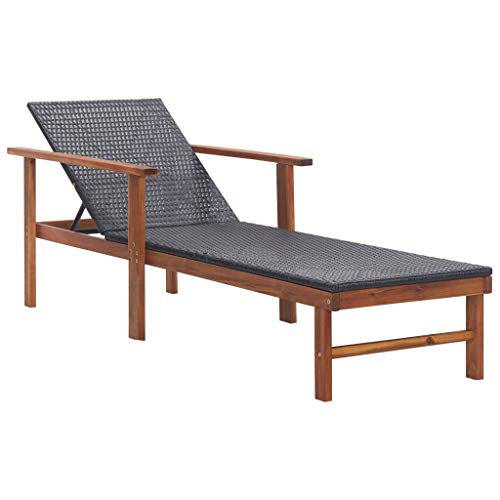 vidaXL Solid Acacia Wood Sun Lounger Weather-Resistant Swimming Pool Patio Garden Outdoor Seating Sun Bed Daybed Chaise Lounge Poly Rattan Black