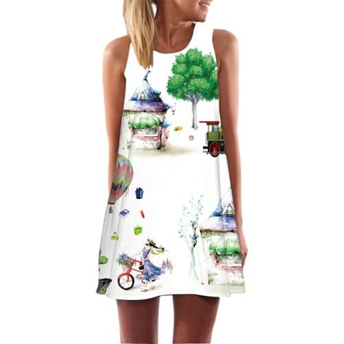 Vestido Sexy De Longitud Media con Escote Redondo con Estampado Digital En 3D Vestido De Playa Sin Mangas Informal con Estampado Floral Bohemio para Mujer Vestido Retro De Playa XL