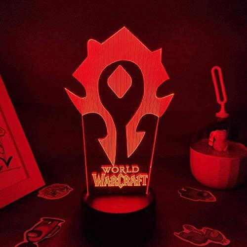 3D Illusion Light Light Light Lamp RGB con World of Warcraft Logo Game Orda decorativa perfetta per una sala giochi o lampada da tavolo regalo per un amico