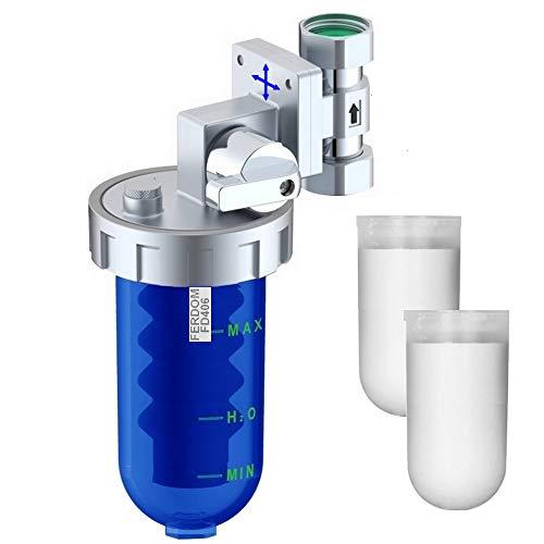 Ferdom FD406 Dosatore Proporzionali Di Polifosfati -Anticalcare e Anticorrosione. 2 x Cartucce. Valvola Di Arresto e By-Pass. Testa Ottone, Vaso San