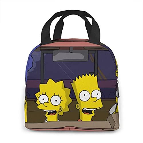 The Simpsons - Bolsa térmica térmica térmica para adultos, hombres, mujeres, niños y niñas, con tenedor y cuchara para alimentos y bebidas, picnic, playa, escuela