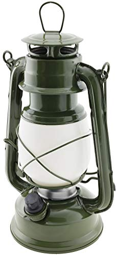ChiliTec LED Camping Laterne Garten-Laterne Army Green Oliv Retro Design I Dimmbar Batteriebetrieb 4x AA Mignon 23,5cm Bügel Warmweiß