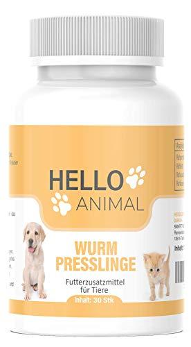 HelloAnimal Wurm Presslinge Kur für Tiere wie Katzen, Hunde, Kaninchen und Geflügel - vor, während und nach Befall, natürliches Mittel für Magen und Darm bei WURMBEFALL