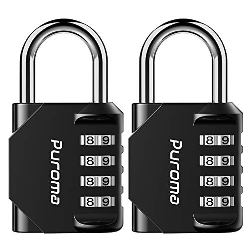Puroma 2 Pack Combination Lock 4 Digit Outdoor Waterproof Padlock for School Gym Locker, Sports Locker, Fence, Toolbox, Gate, Case, Hasp Storage (Black)