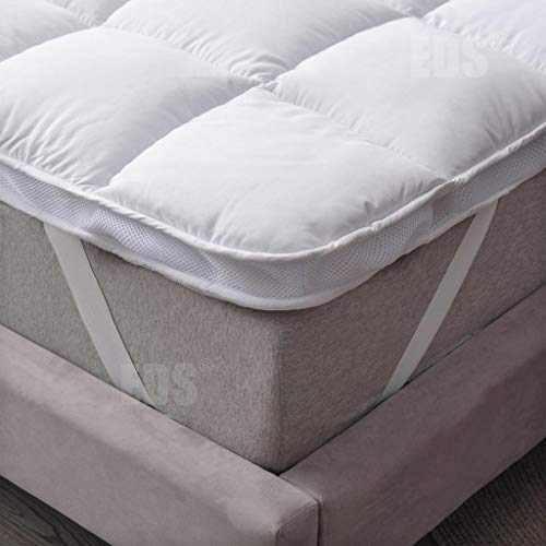 AirFlow Box Stitched Mattress Topper 5cm Thick Extra Filled Cosy Super Soft Anti Allergenic with 4 Corner Straps Elastic Soft and Firm Hotel Quality (4Ft Small Double - 120 x 190 CM)