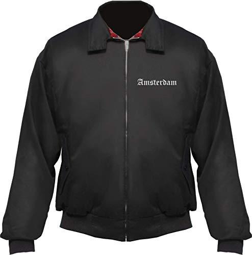HB Druck Amsterdam Harrington Giacca – Italiano – Ricamato – Blouson Nero XXXL