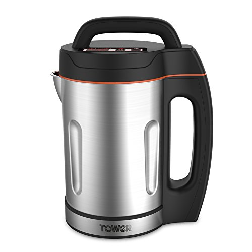 Tower T12031 Soup Maker with Stainless Steel Jug and Blade, LED Panel, Intelligent Control System, 1000 W, 1.6 Litre, Silver