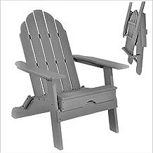 ResinTEAK Plastic Folding Adirondack Chair   Adult-Size, Weather Resistant for Patio Deck Garden, Backyard & Lawn Furniture   Easy Maintenance & Classic Adirondack Chair Design (Grey)