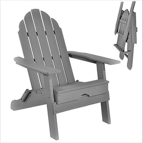 ResinTEAK Plastic Folding Adirondack Chair | Adult-Size, Weather Resistant for Patio Deck Garden, Backyard & Lawn Furniture | Easy Maintenance & Classic Adirondack Chair Design (Grey)