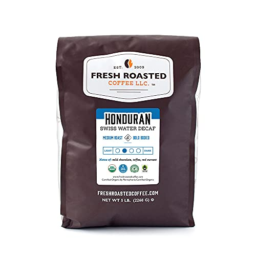 Fresh Roasted Coffee, Swiss Water Decaf Honduran, Organic Fair Trade Kosher RFA, Medium Roast Whole Bean, 5 Pound