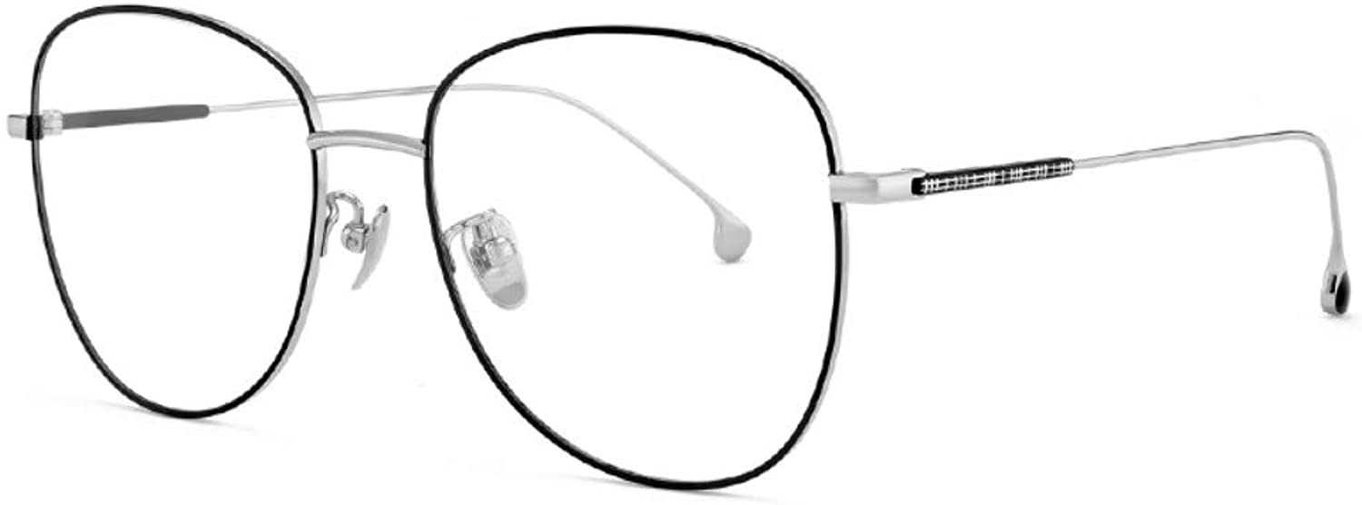 Antibluee Radiation Glasses Goggles Flat Mirror no Degree Retro Men and Women with The Same Paragraph Bright Black Silver