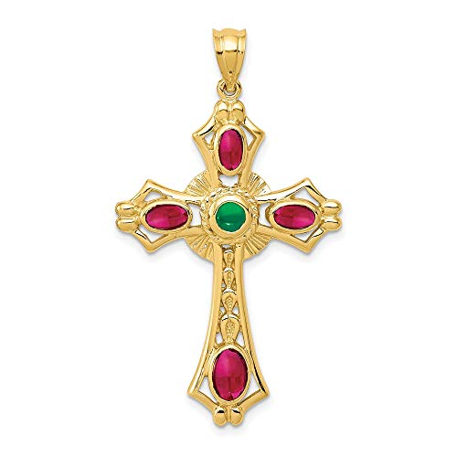 14k Yellow Gold Red Ruby Green Emerald Cabochon Cross Religious Pendant Charm Necklace Celtic Iona Fine Jewelry For Women Gifts For Her