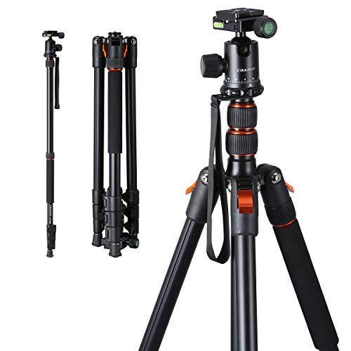 Craphy CPT-002 DSLR-Stativ Faltbares 78'' Kamerastativ-Einbeinstativ mit 17,6 lb Last 360-Grad-Kugelkopf-Tragetasche Kompakt für Reise