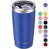 Umite Chef 20oz Tumbler with Lid, Stainless Steel Vacuum Insulated Double Wall Travel Tumbler with Straw, Durable Insulated Coffee Mug, Thermal Cup with Splash Proof Sliding Lid(Navy Blue)