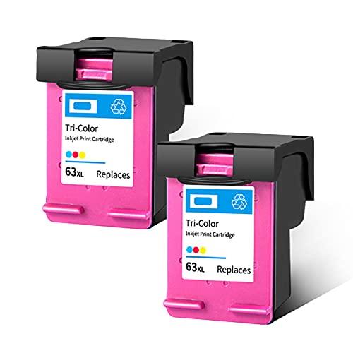 SXCD Cartucho de tinta 63XL para HP, compatible con HP Officejet 2130 3630 3830 4520 4650 3632 Deskjet 1110 2138 3630 Envy 4510 4528, cartuchos tricolor 2