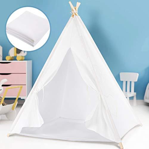 Peradix Tente pour Enfants-Tipi Enfant de Jeu Tente avec Tapis de Sol Siamois Bannière , Tente Indienne pour...