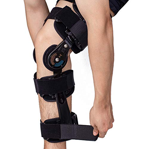 Hinged Knee Brace with ROM, Post Op Knee Brace for Leg Immobilizer, Adjustable Medical Orthopedic Support for Recovery Meniscus Tear, ACL, MCL and PCL After Surgery.