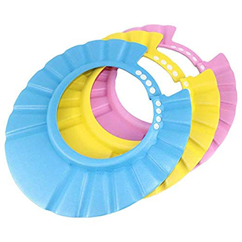 Paquet de 3 shampoing douche bain bébé bonnet de protection doux visière réglable souple douce bonnet pour nourrisson, bébé, enfants